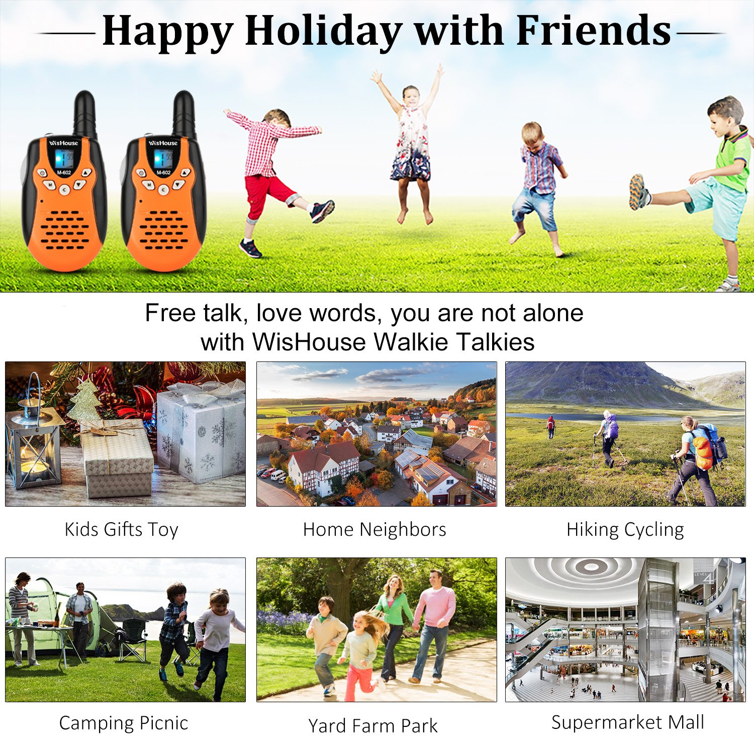 WisHouse Mini Durable Toy Walkie Talkies Kids Boys Girls Flashlight as Festival Gifts/Long Range Childrens 2 Way Radio Walky Talky Sets Camping Hiking (M602 Orange 4 Pack) by Wishouse (Image #2)