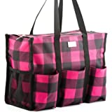 Pursetti Zip-Top Organizing Utility Tote Bag with Multiple Exterior & Interior Pockets for Working Women, Nurses, Teachers and Soccer Moms (Fuchsia Checker)