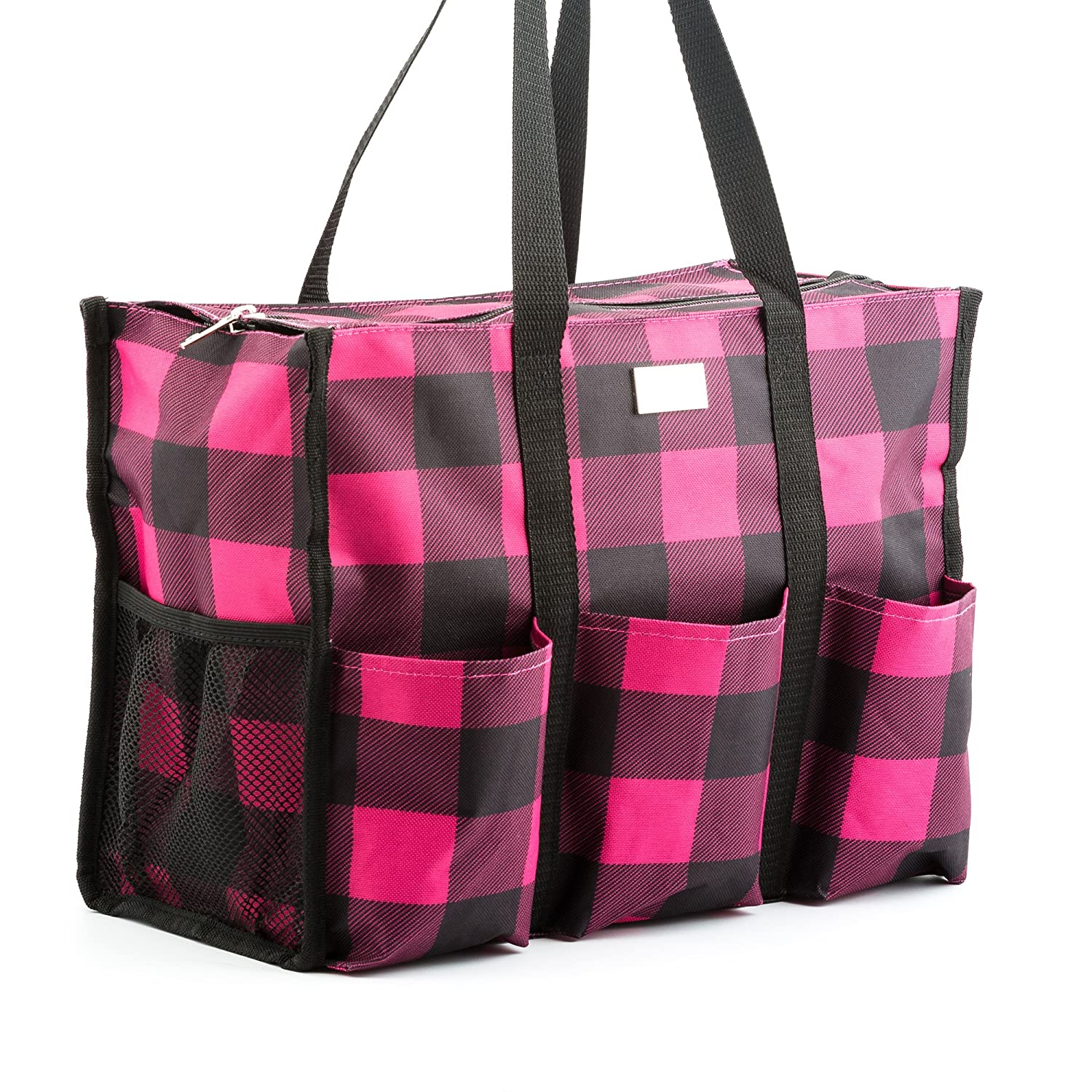 Pursetti Zip-Top Organizing Utility Tote Bag with Multiple Exterior & Interior Pockets for Working Women, Nurses, Teachers and Soccer Moms (Black Daisy) COMIN18JU065245