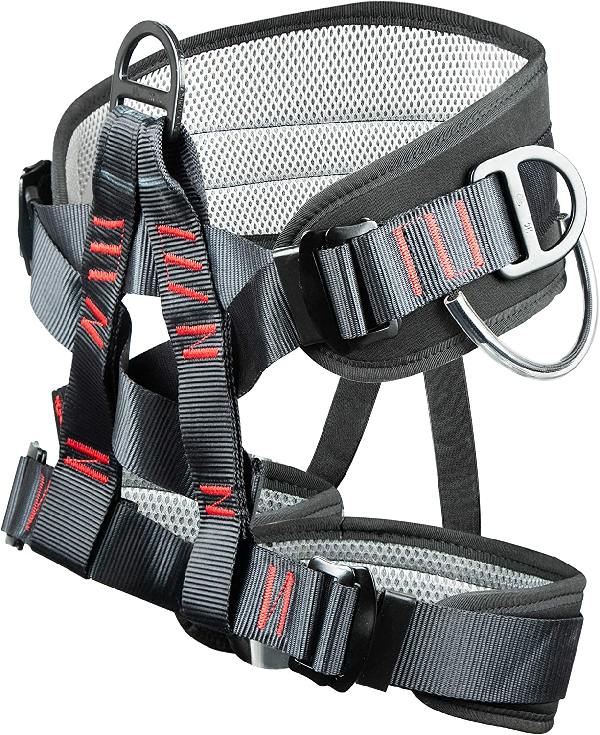 Eleven Guns Adjustable Thickness Climbing Harness Half Body Harnesses for Fire Rescuing Caving Rock Climbing Rappelling Tree Protect Waist Safety Belts (Black)