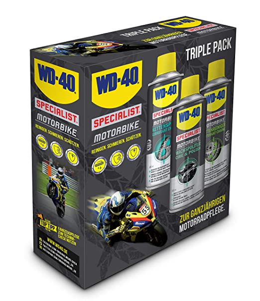 Wd 40 Specialist Motorbike Motorcycle Care Set Includes 1x Chain Spray 1x Chain Cleaner 1x Wax Polish Business Industry Science