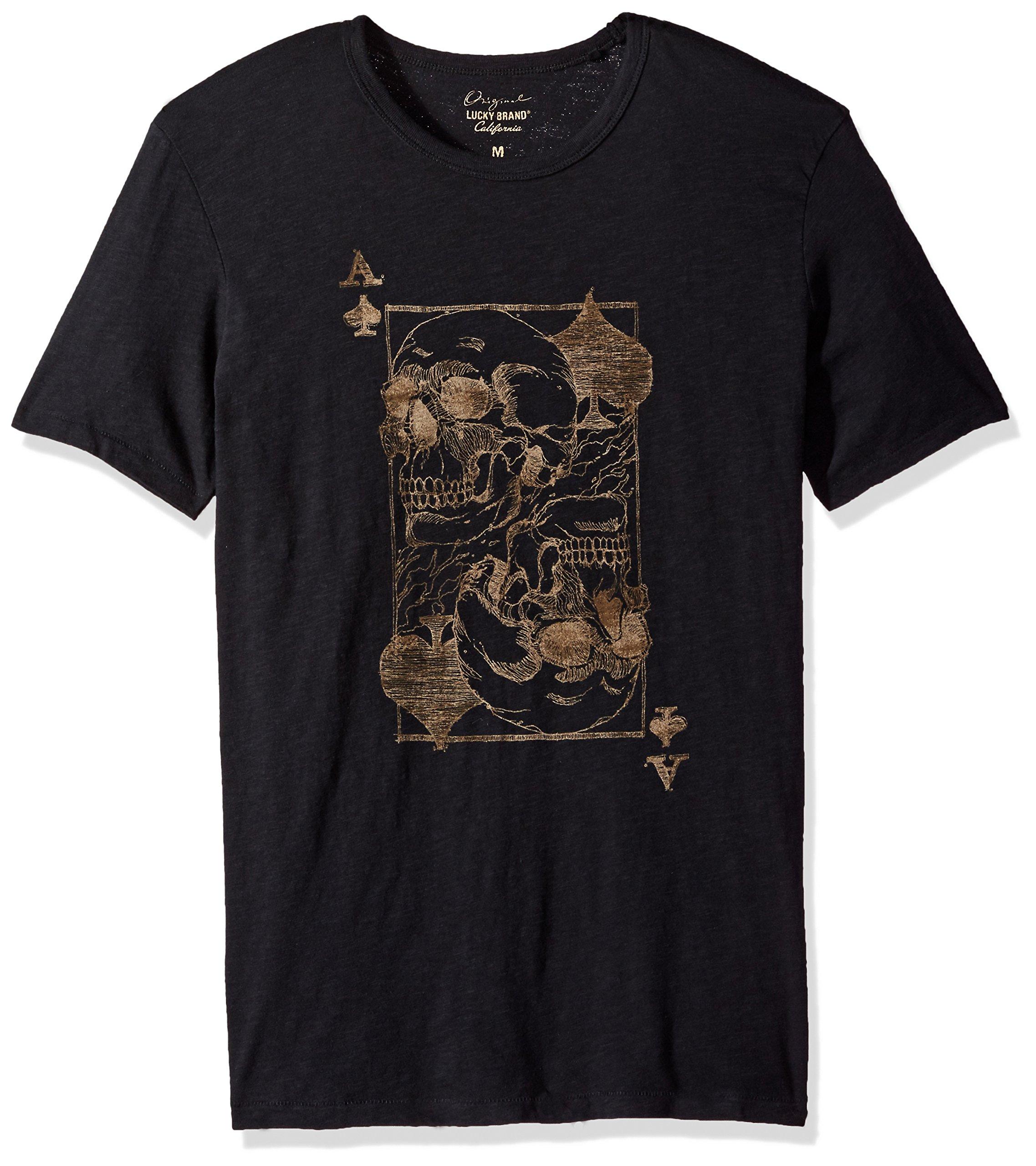 Lucky Brand Men's Ace Skulls Graphic Tee, Jet Black, X-Large