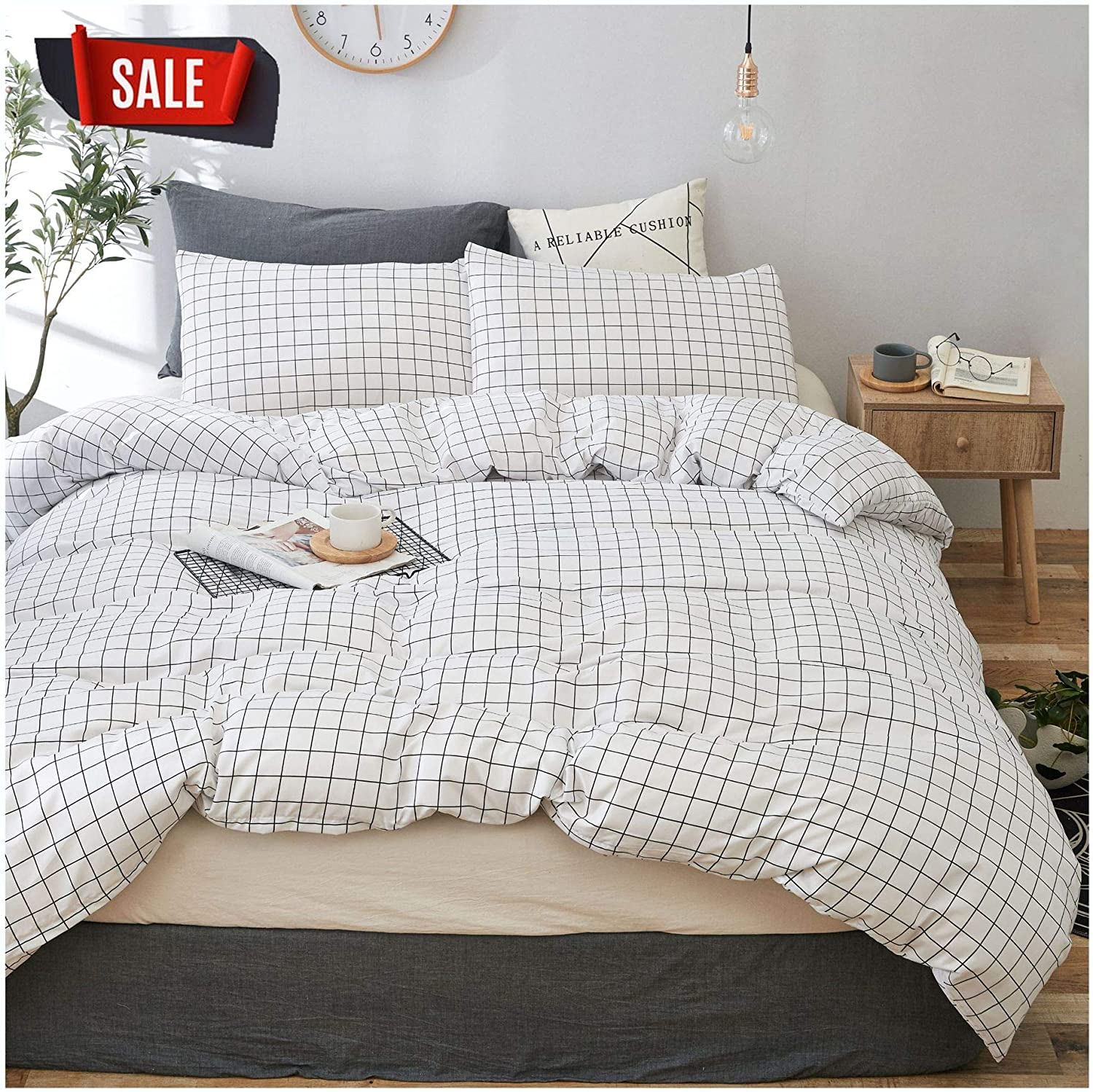 YZZ COLLECTION Kids Twin Bedding Duvet Cover Set,Premium Microfiber,Grid Pattern On Comforter Cover-3pcs:1x Duvet Cover 2X Pillowcases,Comforter Cover with Zipper Closure