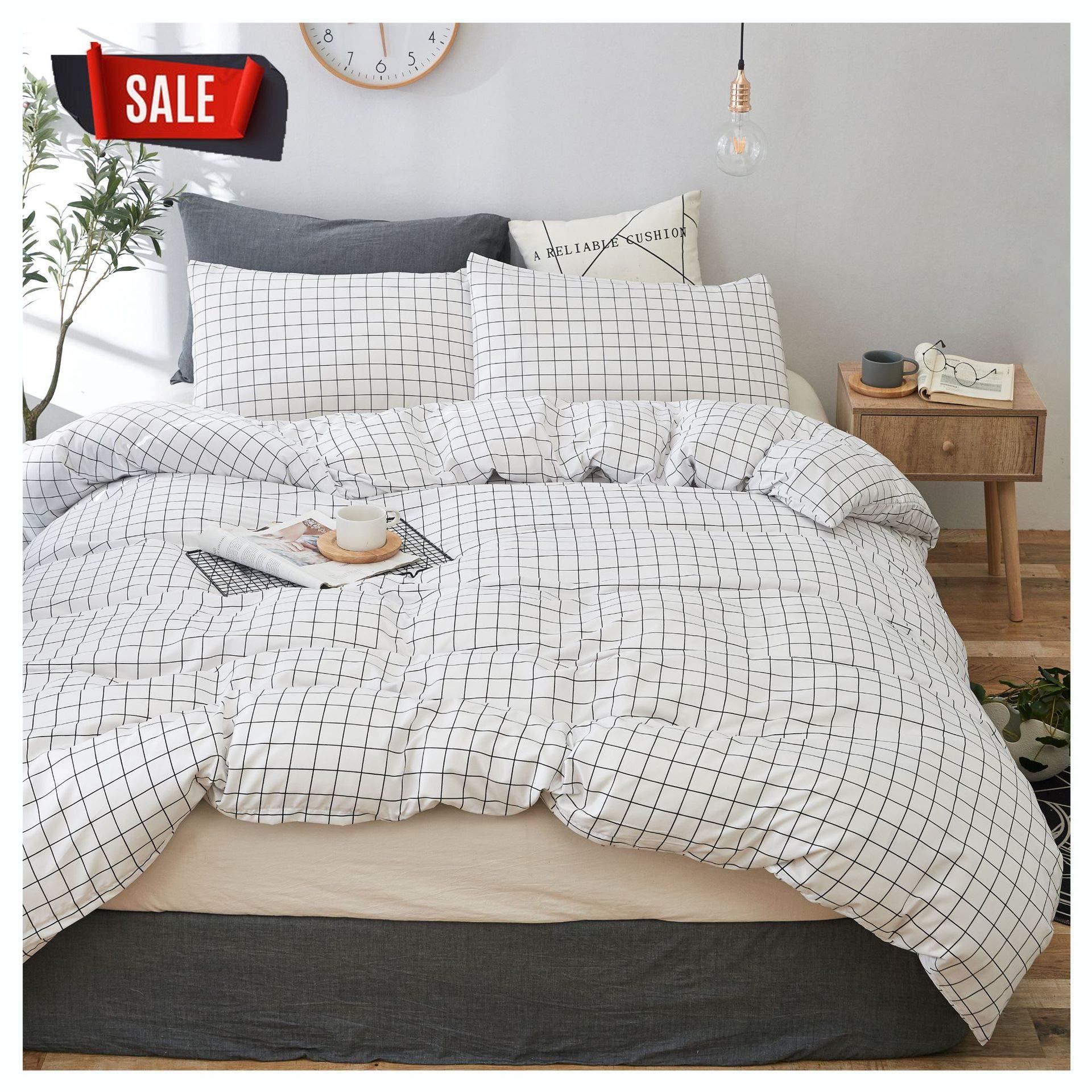 YZZ COLLECTION Kids Twin Bedding Duvet Cover Set,Premium Microfiber,Grid Pattern On Comforter Cover-3pcs:1x Duvet Cover 2X Pillowcases,Comforter Cover with Zipper Closure (Twin) by YZZ COLLECTION