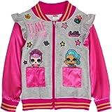 L.O.L. Surprise! girls Bomber Jacket Pink Sparkly Sleeve 'Time to Shine' Sequin Jacket
