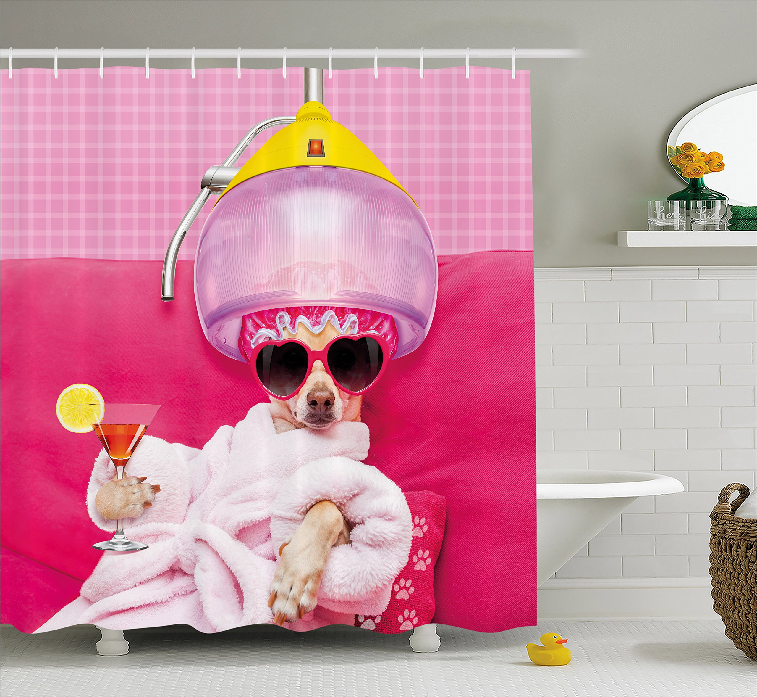 Ambesonne Funny Shower Curtain by, Chihuahua Dog Relaxing and Lying in Wellness Spa Fashion Puppy Comic Print, Fabric Bathroom Decor Set with Hooks, 70 Inches, Magenta Baby Pink