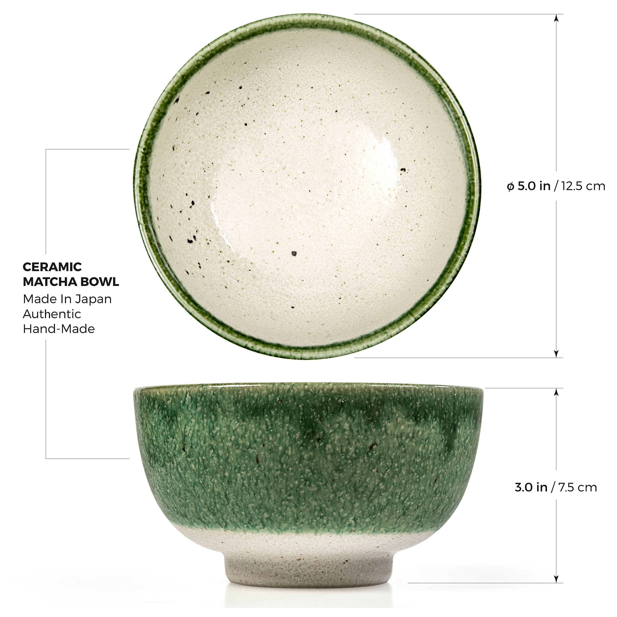 Tealyra - Matcha Bowl - Authentic Ceramic Made in Japan - Chawan from Japanese Master-Craft - Matcha Tea Cup Ceremony Use - Green by Tealyra (Image #3)