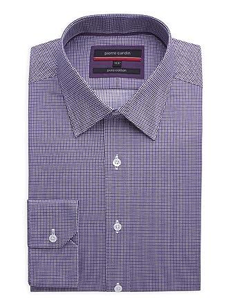 Waren des täglichen Bedarfs gut aussehen Schuhe verkaufen heiße Angebote Suit Direct Pierre Cardin Purple Twill Check Shirt - 0042222 ...