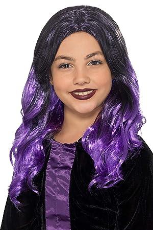 Smiffys 49128 - Peluca de bruja para niños, talla única, color negro y morado: Amazon.es: Juguetes y juegos