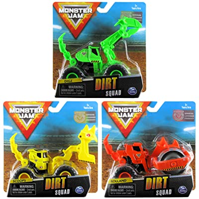 Monster Jam Bundle of 3 Dirt Squad 1:64 Scale Trucks: Digz The Excavator, Scoops The Scooper, Rolland The Steamroller: Toys & Games