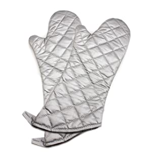 ARCILIBER Oven Mitts,Quilted Cotton Lining,Heat Resistant for Kitchen Cooking,Grilling,Backing,Set of 2,Silver(15 inch)