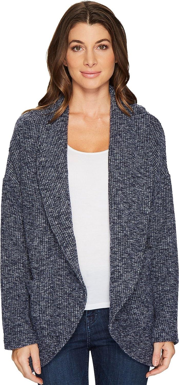 Navy Mododoc Womens Corded Sweater Knit Shawl Collar Patch Pocket Cardigan