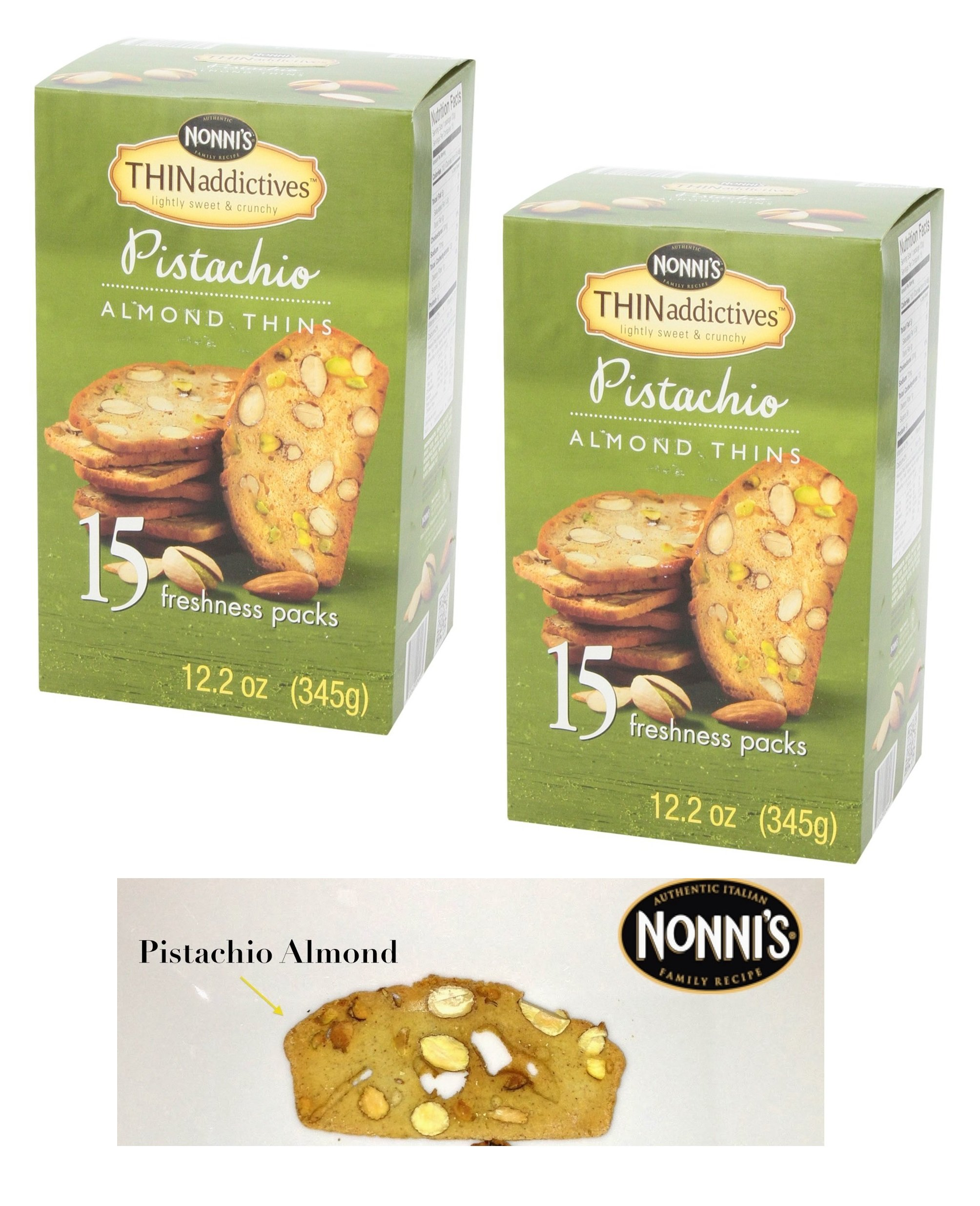 Thin Addictives, Thinaddictives Lightly Sweet & Crunchy Pistachio Almond Thins of 12.2 Oz Box- 2 Pack of 15 Freshness Packs ( 30 Packs Total )