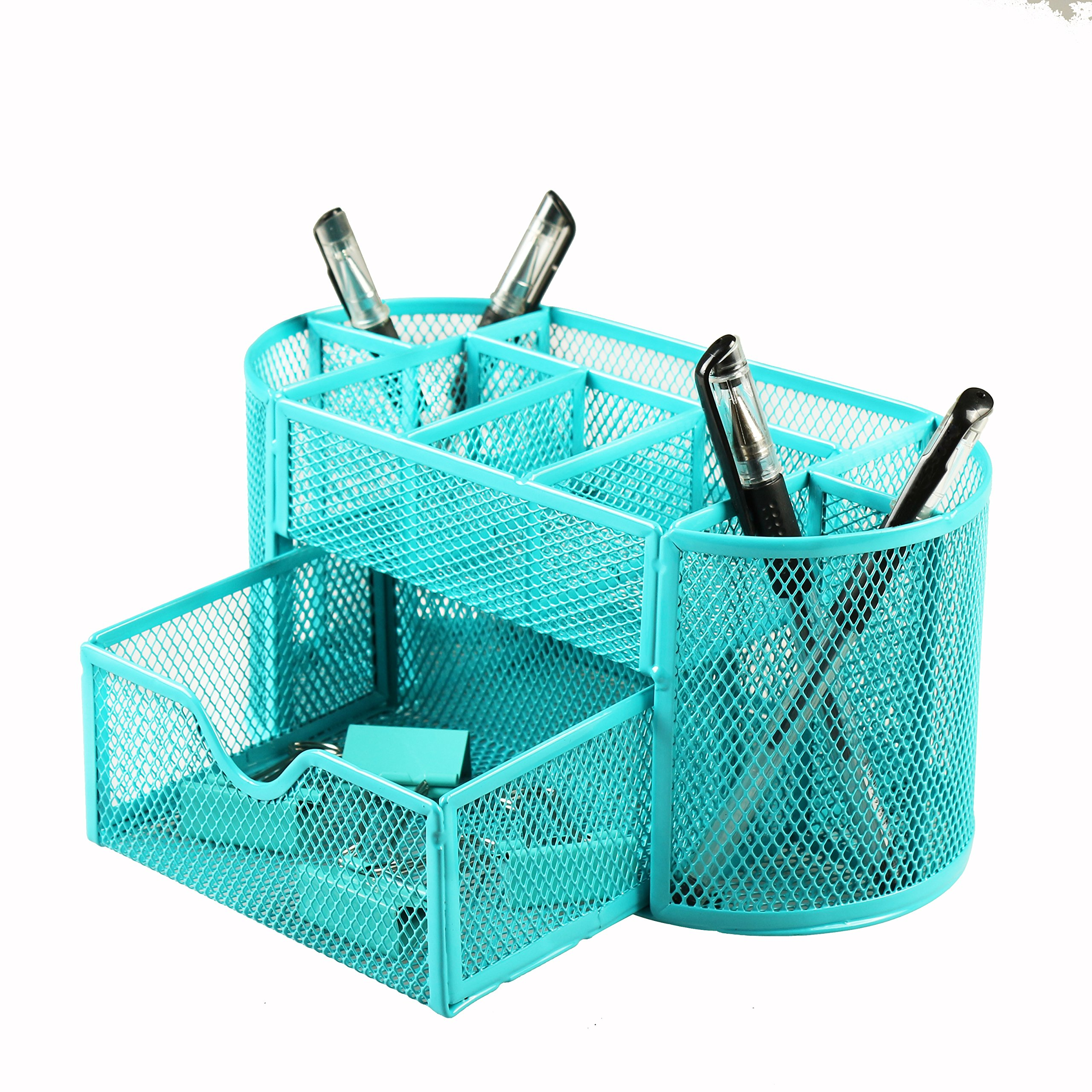 Xinyaoshi Desk Organizer, Metal Mesh, 1 Slide Drawer, 8 Compartment, School, Office Supplies, Storage Caddy with Drawer (Blue)