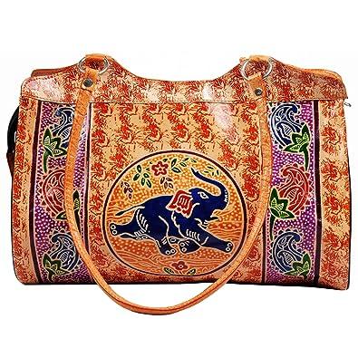 cc6b84fa957e3 Zint Women's Boho Painted Handmade Leather Shantiniketan Shoulder Bag  Elephant Design