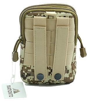 Mationto Tactical Molle Pouch EDC Utility Gadget Belt Waist Bag with Cell Phone Holster Holder (Desert Digital)