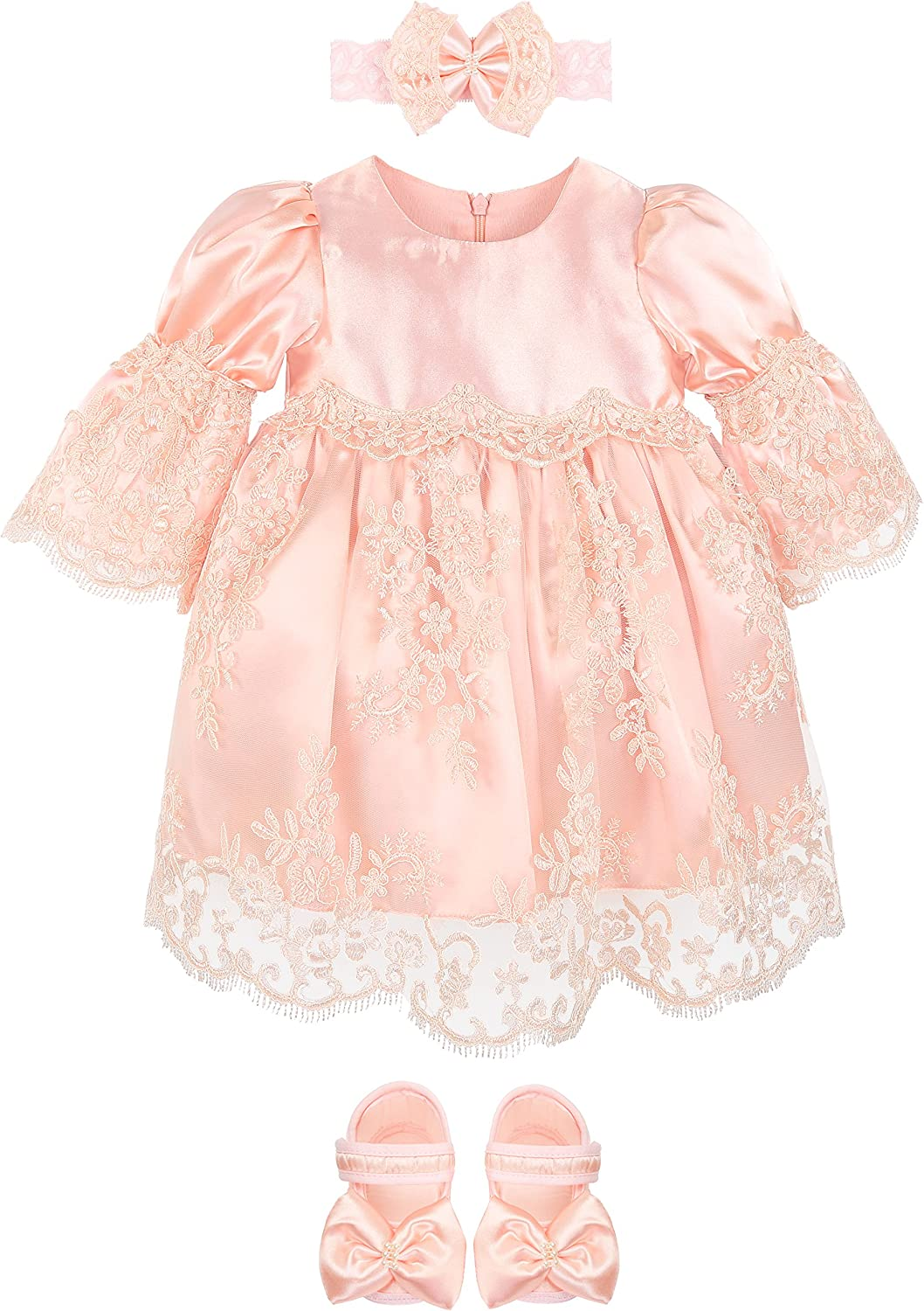 Lilax Baby Girl Newborn Peach 3/4 Sleeve Lace Princess Dress Gown 4 Piece Deluxe Set
