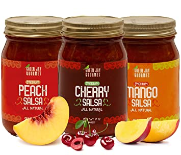 Green Jay Gourmet Fruity Favorites Salsa Variety Pack - Cherry Salsa, Peach Salsa, Mango