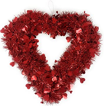"""NEW SET OF 9 1/"""" PINK HEART GLITTER VALENTINE ORNAMENT HEARTS HANGING BOW TRIM"""