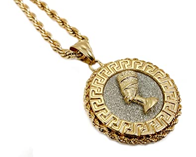 18k gold plated queen nefertiti medallion pendant stainless steel 18k gold plated queen nefertiti medallion pendant stainless steel necklace w 24quot rope chain mozeypictures Images