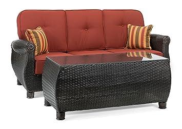 La Z Boy Outdoor Breckenridge Resin Wicker Patio Furniture Sofa With  Pillows And Coffee