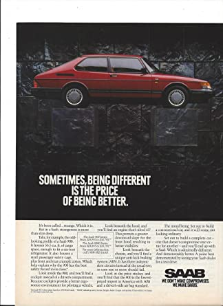 MAGAZINE ADVERTISEMENT For 1992 Red Saab 900 Turbo Convertible Cars