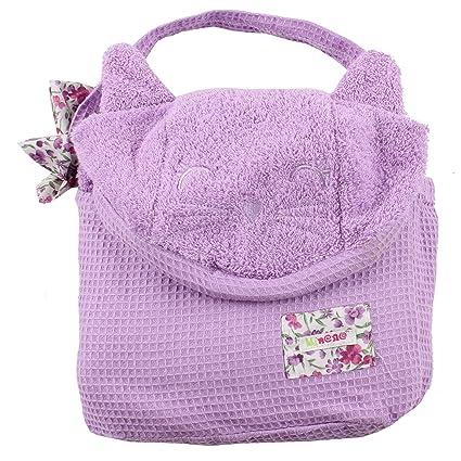 Minene envoltura toalla para los niños, con capucha, 80 x 135 cm, púrpura