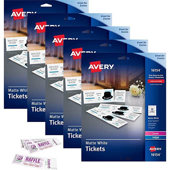 amazon com avery printable tickets with tear away stubs white 1 3