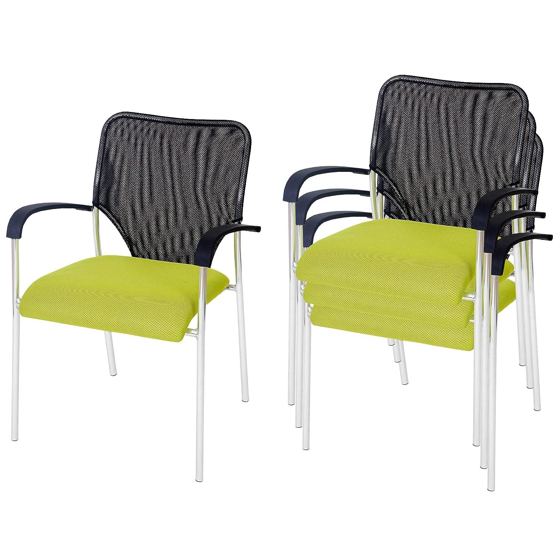 Mendler 4X Besucherstuhl Tulsa, Konferenzstuhl stapelbar, Stoff Textil Textil Textil  Sitz grün, Rückenfläche schwarz 09a55a