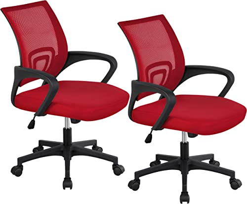YAHEETECH Set of 2 Office Chair Adjustable Swivel Rolling Desk Chair Mid-Back Mesh Computer Chair