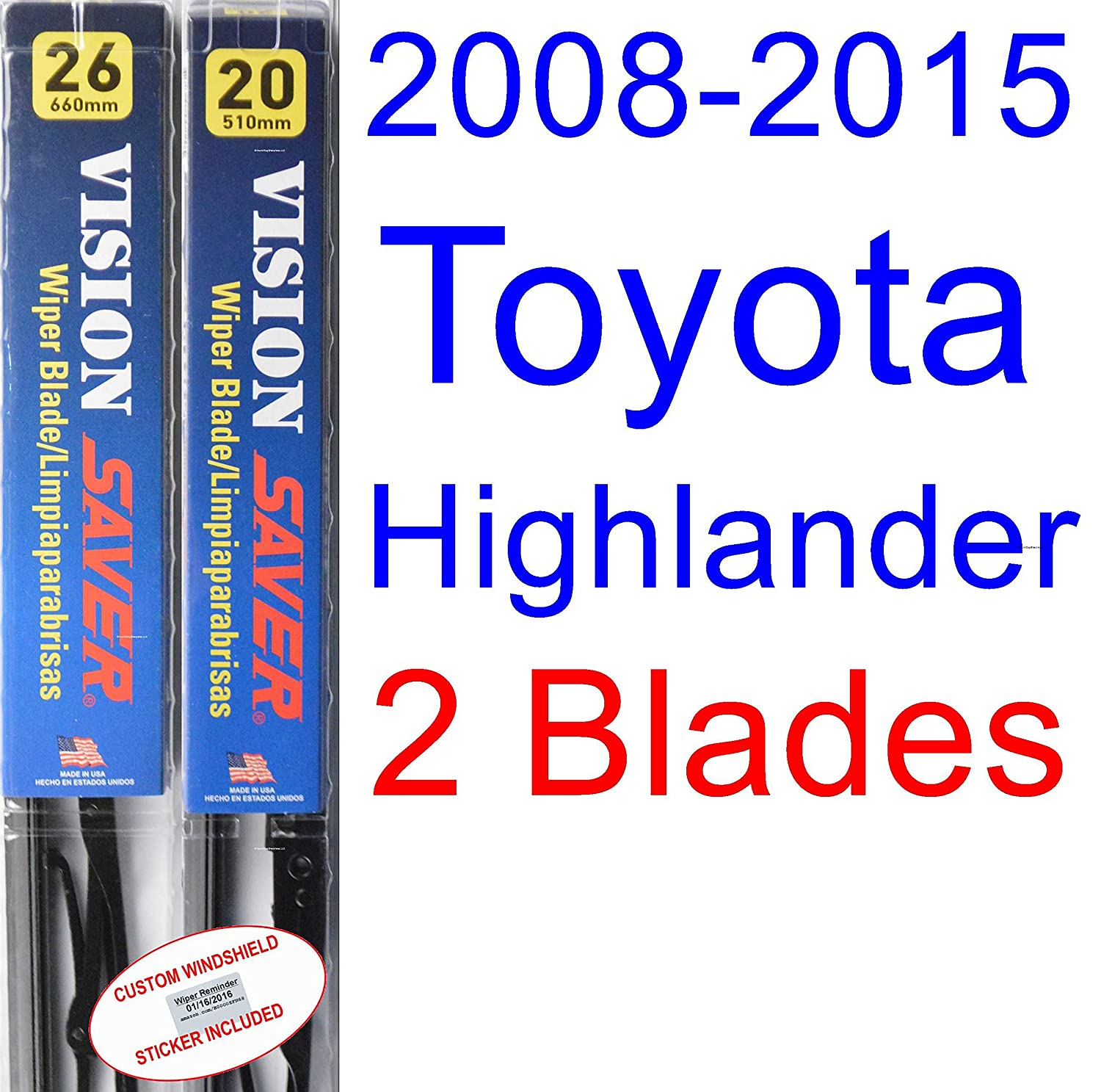 2008-2015 Toyota Highlander Replacement Wiper Blade Set/Kit (Set of 2 Blades) (Saver Automotive Products-Vision Saver) (2009,2010,2011,2012,2013,2014)