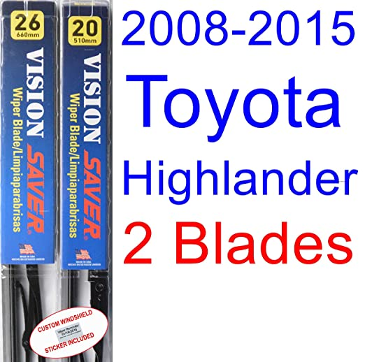 Amazon.com: 2008-2015 Toyota Highlander Replacement Wiper Blade Set/Kit (Set of 2 Blades) (Saver Automotive Products-Vision Saver) (2009,2010,2011,2012,2013 ...