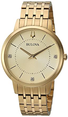 Bulova Womens Diamonds Quartz and Stainless-Steel Casual Watch, Color:Gold