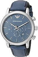 Emporio Armani Men's AR1969 Dress Blue Leather Quartz Watch