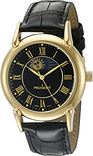a7dc9fa7cca Peugeot Men s 14k Gold Plated Vintage Leather Dress Watch