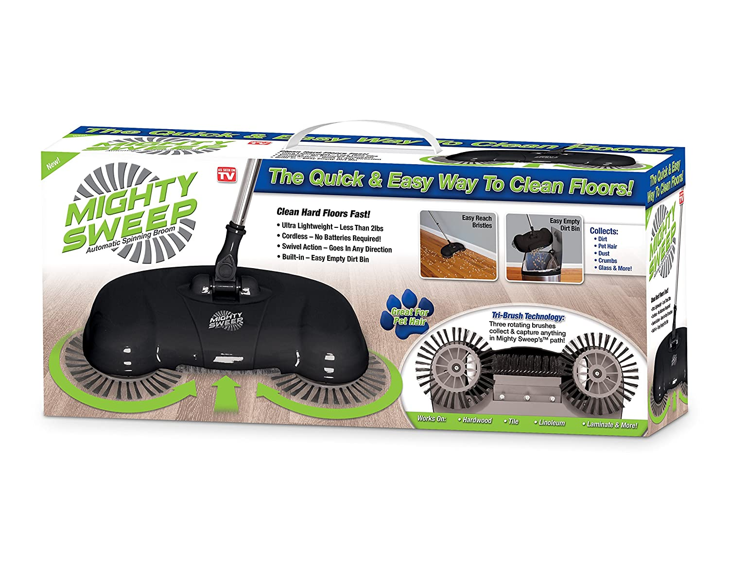 Mighty Sweep Automatic Cordless Push Sweeper Broom With Dustpan Trash Bin