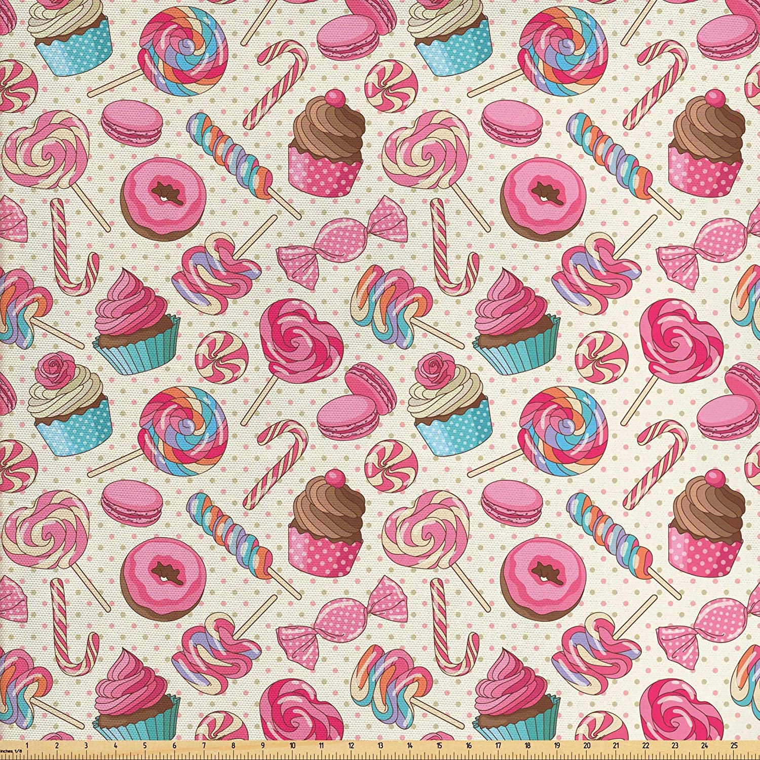 Ambesonne Candy Cane Fabric by The Yard, Yummy Sweet Lollipop Candy Macaroon Cupcake and Donut on Polka Dots Pattern, Decorative Fabric for Upholstery and Home Accents, 2 Yards, Multicolor
