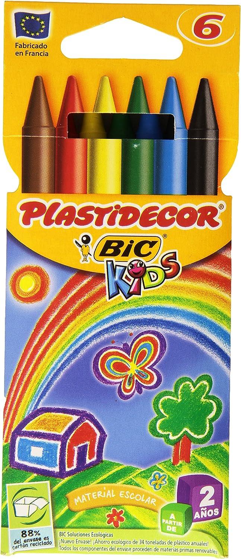 BIC Plastidecor - Estuche con 6 ceras: Amazon.es: Oficina y papelería