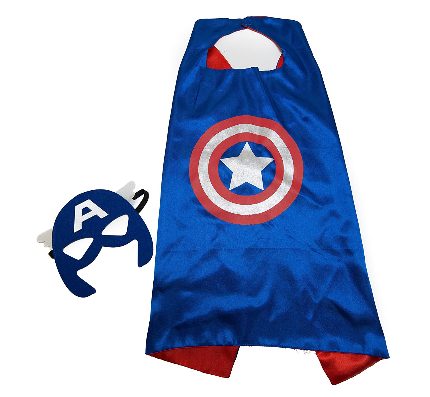 Kids Capes JDProvisions Captain America Blue and Mask Set (Captain America) Birthday Part