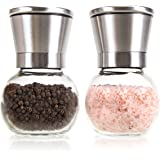 The Original Premium Glass & Stainless Steel Salt and Pepper Grinder Set - Brushed Stainless Steel Pepper Mill & Salt Mill, Adjustable Ceramic Rotor By Simple Kitchen.