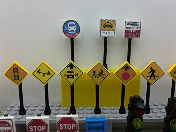 CUSTOM Lego City Town Village Street 25 Play Road Signs Post Box Traffic Lights
