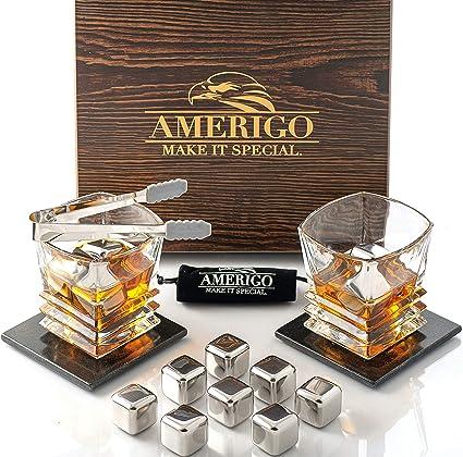 Amerigo Whisky Piedras Set de Regalo de Acero Inoxidable con 2 Vasos de Whisky - Alta Tecnología de Refrigeración - Regalos Hombre - 8 Reutilizables ...
