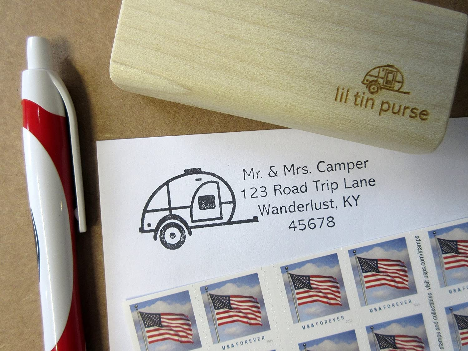 Teardrop Camping Travel Trailer Personalized Address Stamp
