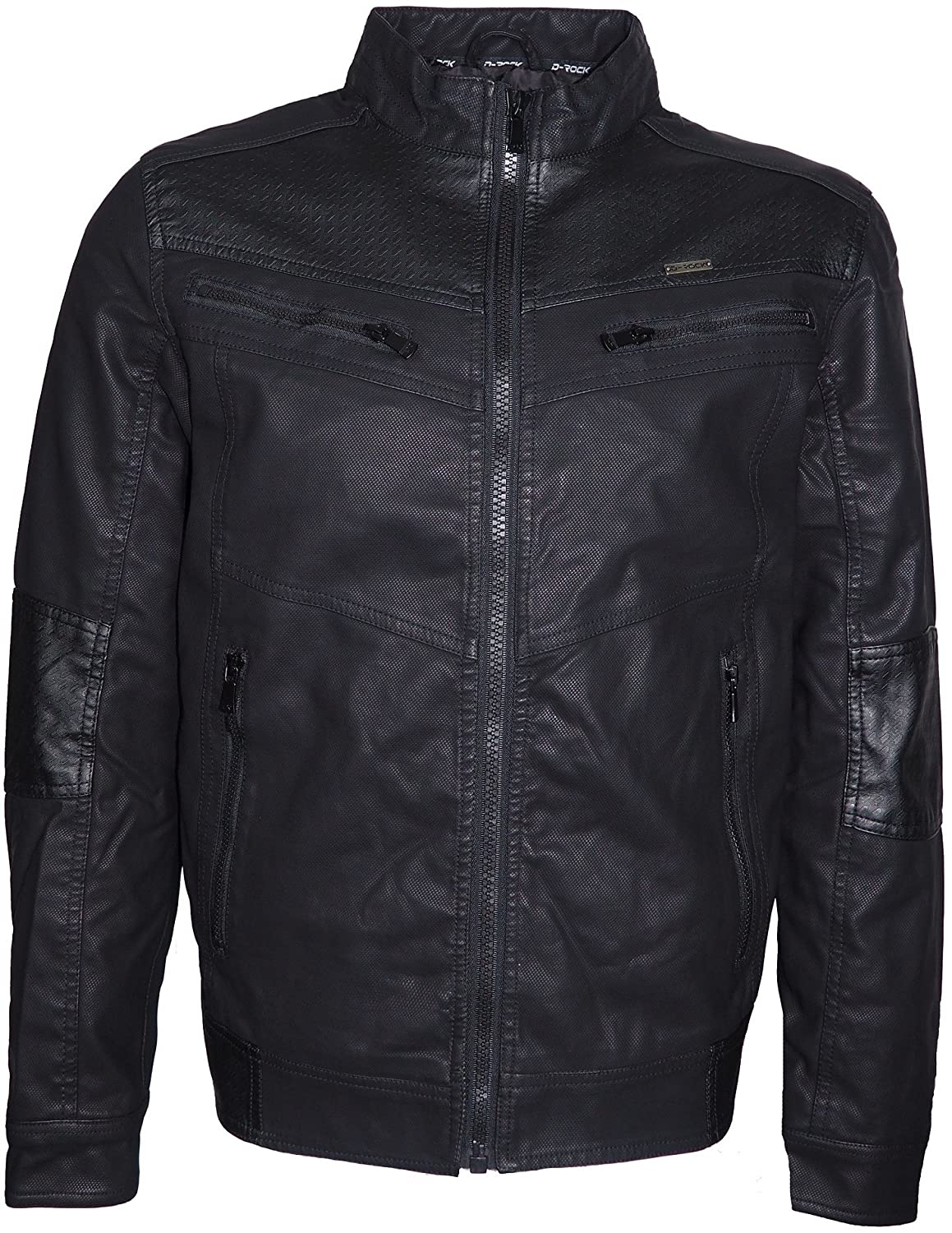 Men's Black Fuax Leather Crew-Neck Racing Biker Jacket