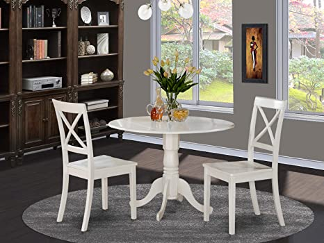 Amazon Com East West Furniture 3 Pc Small Kitchen Table And 2 Dining Chairs Pieces Linen White Finish Decor