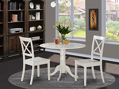 DLBO3-WHI-W 3 Pc'small Kitchen Table-Kitchen Table and 2 Dining Chair
