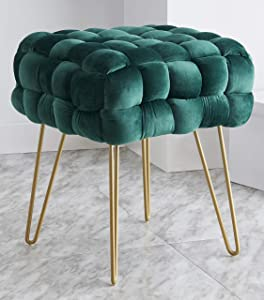 Ornavo Home Mirage Modern Contemporary Square Woven Upholstered Velvet Ottoman with Gold Metal Legs - Emerald Green