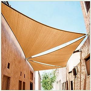 ColourTree 20' x 20' x 20' Sand Beige Triangle Sun Shade Sail Canopy Awning Fabric Cloth Screen - UV Block UV Resistant Heavy Duty Commercial Grade - Outdoor Patio Carport - (We Make Custom Size)