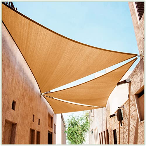 ColourTree CTAPT18 Custom Size Order to Make 28' x 28' x 28' Sand Beige Triangle Sun Shade Sail Canopy Mesh Fabric UV Block