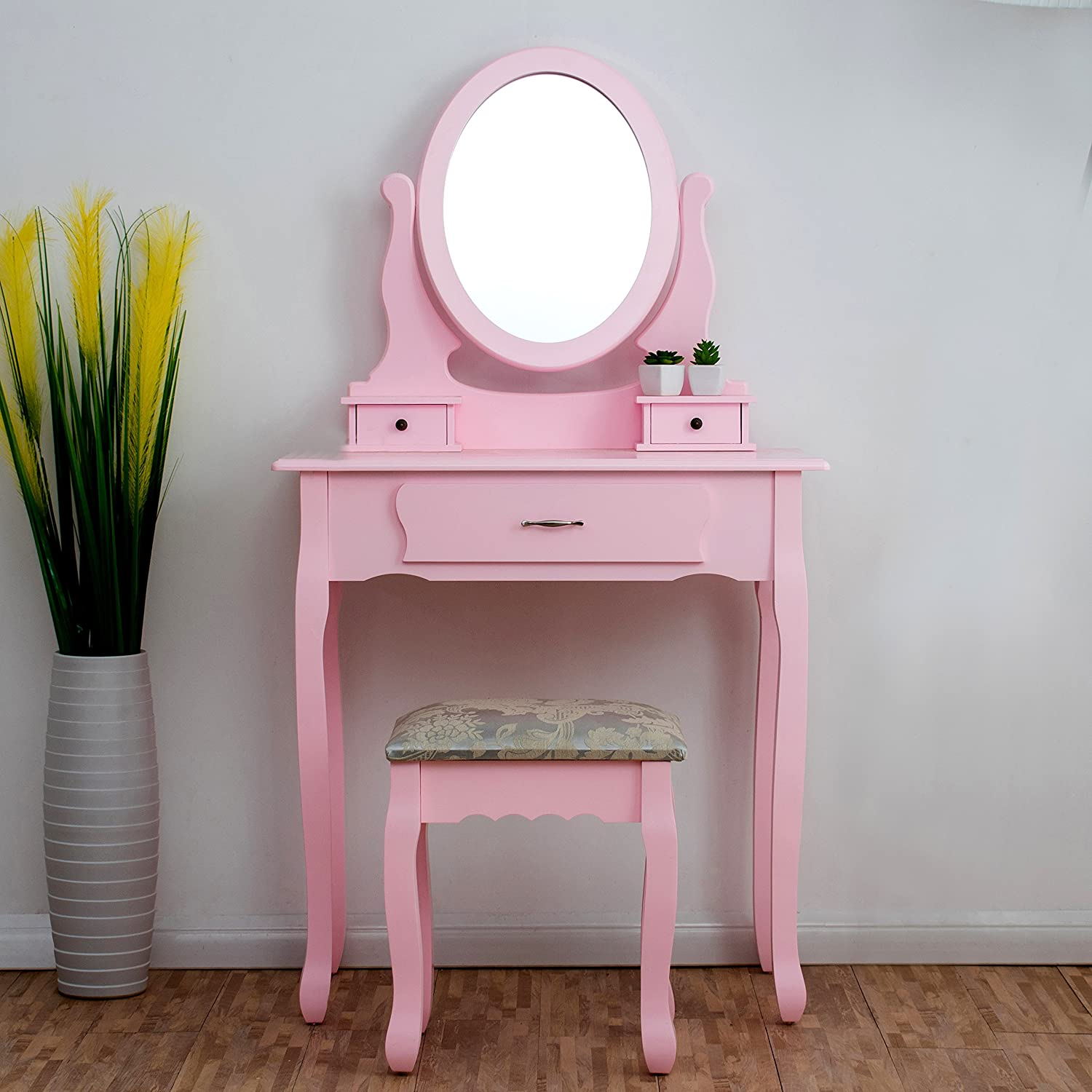 new arrival f207e 03239 CherryTree Furniture PINK Dressing Table 3-Drawer Makeup Dresser Set with  Stool Oval Mirror